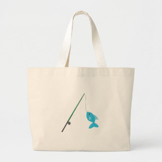 Fish On Pole Large Tote Bag