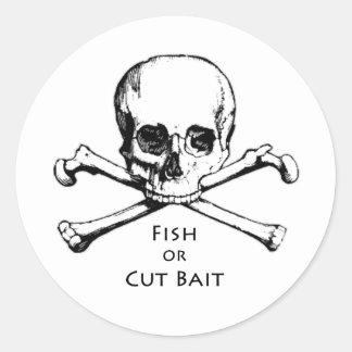 """Fish or Cut Bait"" Jolly Roger Pirate Logo Round Sticker"