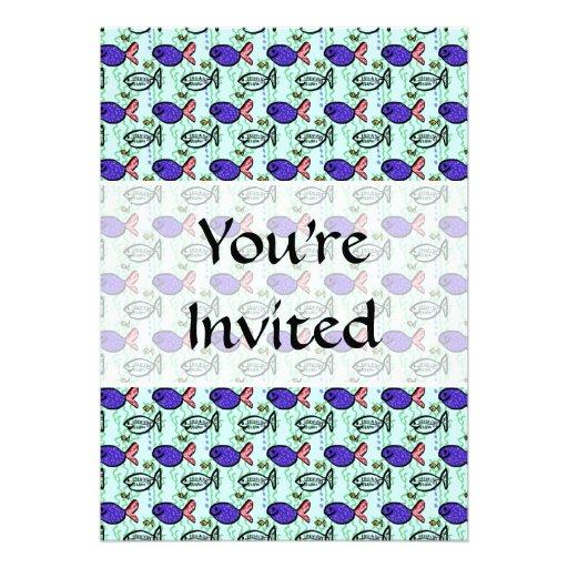 Fish Pattern. Blue Fish Ghost Fish. Invitation