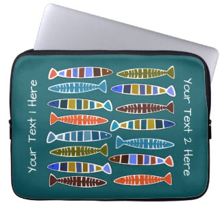 Fish Pattern custom text & color laptop sleeves