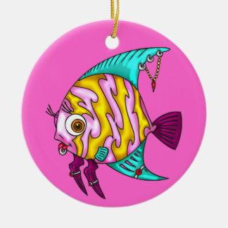 Fish Piercings Round Ceramic Decoration