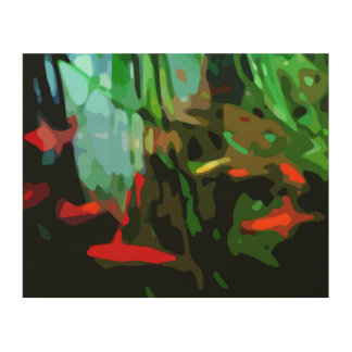 Fish Pond Wood Wall Art