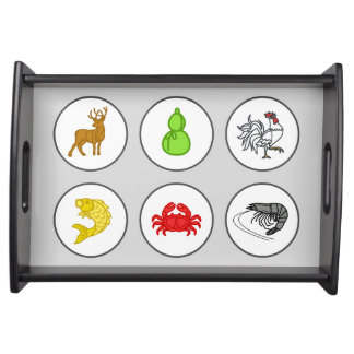 Fish Prawn Crab Game Board Serving Tray - Grey