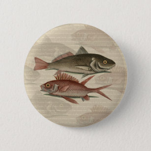 fish red perch Vintage fisherman gift 6 Cm Round Badge
