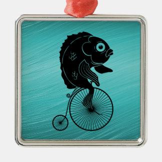 Fish Riding a Bike Metal Ornament