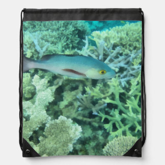 Fish roaming the reef drawstring bag