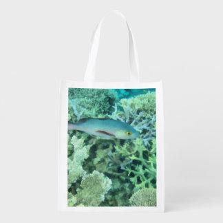Fish roaming the reef reusable grocery bag