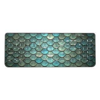 Fish Scales Green Blue Metal Sherd Squama Wireless Keyboard