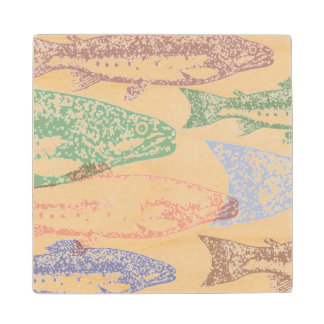 Fish Stamp Artwork Wood Coaster