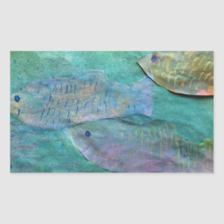 fish swimming about rectangular sticker