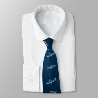 Fish Swimming Blue Ocean White Line Art Necktie