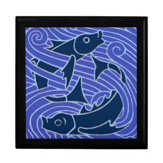 Fish Swimming Bold Blue Gift Box