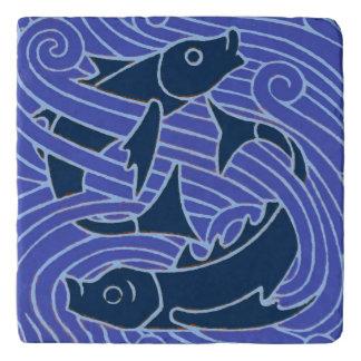 Fish Swimming Bold Blue Trivet