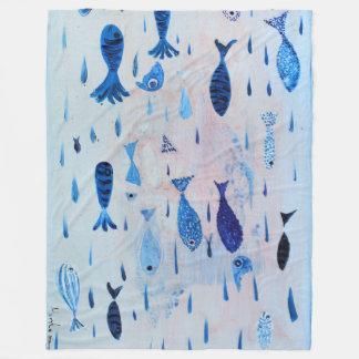 Fish swimming fleece blanket