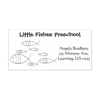 Fish Swimming Illustration Drawing, Name, Address Rubber Stamp