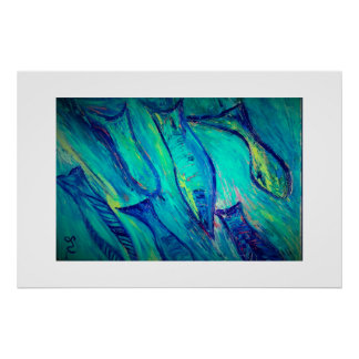 Fish swimming in blue waters poster