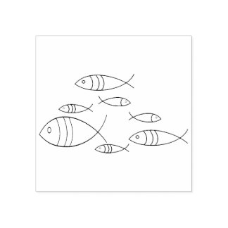 Fish Swimming Line Art Illustration Drawing Rubber Stamp