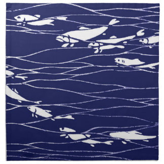 Fish Swimming Underwater Blue Napkin