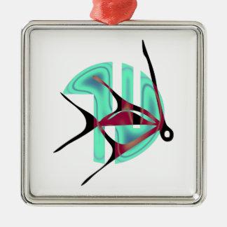 Fish Symbol Silver-Colored Square Decoration