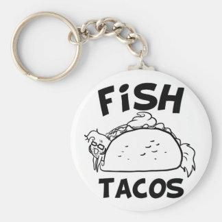 Fish Tacos Basic Round Button Key Ring
