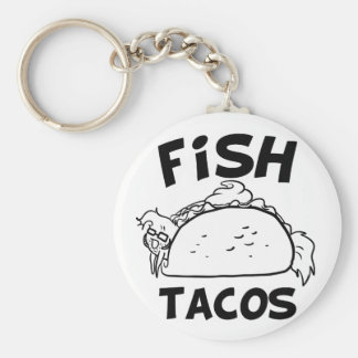Fish Tacos Basic Round Button Key Ring