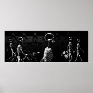 Fish Tank BKRD X-Ray Skeletons Midnight Stroll B&W Poster