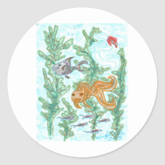 Fish Tank Round Stickers