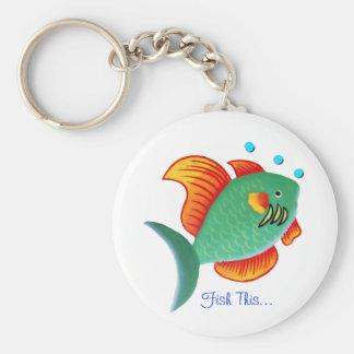 Fish This Basic Round Button Key Ring