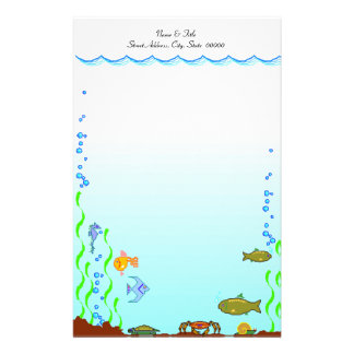 Fish Under The Sea Aquatic Personal Stationery