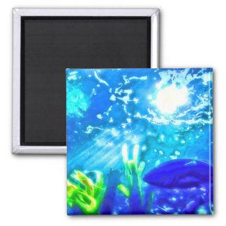 Fish Under The Sea Square Magnet