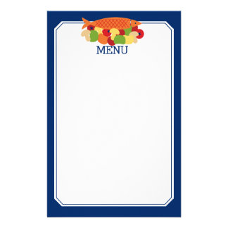 Fish vegetables fresh healthy food chef catering custom stationery