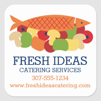 Fish vegetables fresh healthy food chef catering square sticker