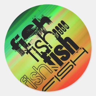 Fish; Vibrant Green, Orange, & Yellow Round Sticker