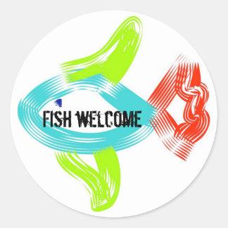 Fish Welcome Round Sticker