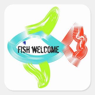 Fish Welcome Square Sticker