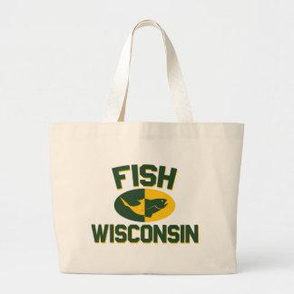 Fish Wisconsin Large Tote Bag