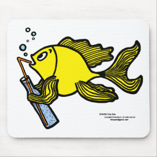 Fish with a Drink, Drinking Fish Mouse Pad