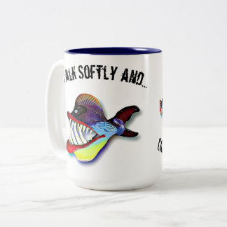 Fish with Attitude by Artist Mike Quinn Two-Tone Coffee Mug