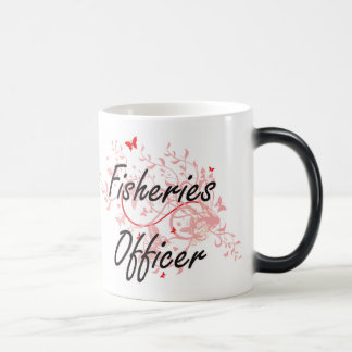 Fisheries Officer Artistic Job Design with Butterf Magic Mug