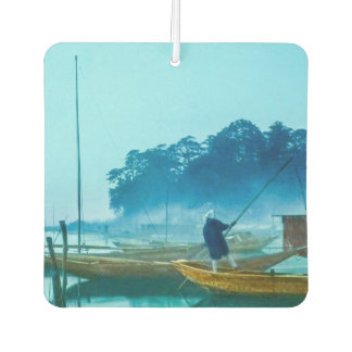 Fisherman at Dawn Vintage Japan Hand Colored Car Air Freshener