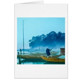 Fisherman at Dawn Vintage Japan Hand Colored Card