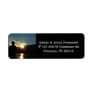 Fisherman at Sunset Fishing Business Label Return Address Label