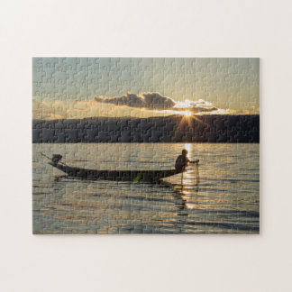 Fisherman At Sunset Jigsaw Puzzle