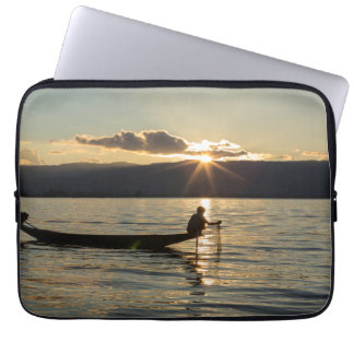 Fisherman At Sunset Laptop Sleeve