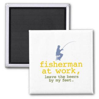 Fisherman At Work Square Magnet