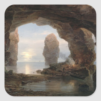 Fisherman in a Grotto, Helgoland, 1850 (oil on can Square Sticker