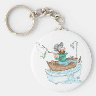 Fisherman in a tub key ring