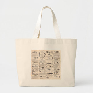 Fisherman Lures Antique News Advertising Large Tote Bag