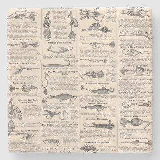 Fisherman Lures Antique News Advertising Stone Coaster