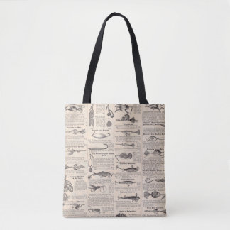 Fisherman Lures Antique News Advertising Tote Bag